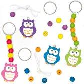 Maak je eigen houten sleutelhanger/tashanger - uil - creatieve knutselpakket voor kinderen om te versieren (4 stuks)