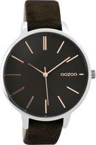 OOZOO Timepieces Zwart horloge  (42 mm) - Bruin