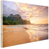 Kauai zonsondergang Hout 80x60 cm - Foto print op Hout (Wanddecoratie) / Zee en Strand