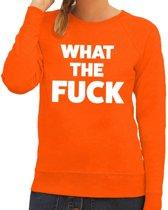 What the Fuck tekst sweater oranje voor dames 2XL