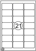 etiket zelfklevend - 70 x 42 mm - 21 etiketten per vel A4 - 100 vel