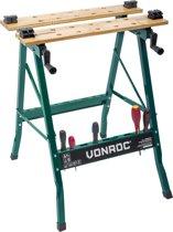 VONROC Werkbank - Voorzien van bamboe werkblad - Opvouwbaar en belastbaar tot 150kg