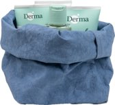 Colibries plume opbergmand Denim + 4 stuks Derma Eco Baby producten - billenzalf babyolie babycrème en babyshampoo - duurzaam - wasbaar papieren - blauw