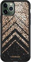iPhone 11 Pro Max glazen hardcase - Chevron luipaard