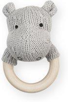 Jollein Soft knit Rammelaar bijtring Ø 7cm hippo lichtgrijs