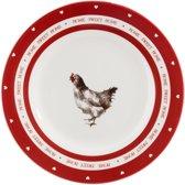 Bord kip ø 20*2 cm Wit/rood | 6CE0812 | Clayre & Eef