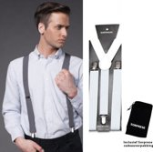 Bretels - Wit - Sorprese - met stevige clip - luxe - heren bretels - unisex