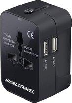 WorldTravel Universele Wereldstekker met 2 USB Poorten - Reisstekker Amerika, Engeland, Zuid Afrika, Australie & Meer - Zwart