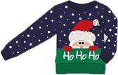 Foute Kersttrui Kinderen Ho Ho Ho Blauw - Maat 128/134
