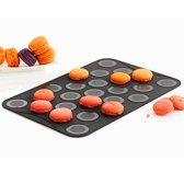 Mastrad Bakmat Macarons - Siliconen - Voor klein macarons - Zwart - Set van 2 stuks