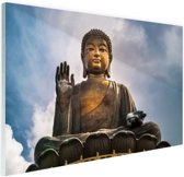 Boeddha beeld in open lucht Glas 90x60 cm - Foto print op Glas (Plexiglas wanddecoratie)