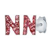 Lucardi Zilveren oorbellen Initialen N - Meisjes - Roze kristal