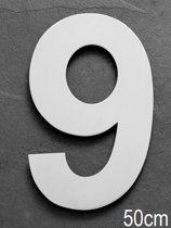 Xaptovi Huisnummer 9 Materiaal: RVS - Hoogte: 50cm - Kleur: RVS
