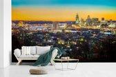 Fotobehang vinyl - Gekleurde lucht boven de Amerikaanse stad Cincinnati breedte 435 cm x hoogte 260 cm - Foto print op behang (in 7 formaten beschikbaar)