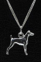 Zilveren Japanse terrier ketting hanger - groot