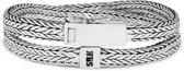 SILK Jewellery - Zilveren Wikkelarmband - Alpha - 356.20 - Maat 20