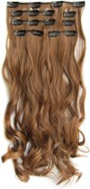 Clip in hairextensions 7 set wavy bruin - 12#
