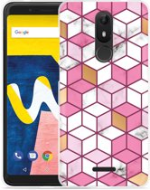 Wiko View Lite Hoesje Pink-gold-white Marble