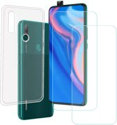 Huawei P Smart Z Hoesje Transparant TPU Siliconen Soft Case + 2X Tempered Glass Screenprotector