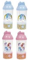 2 stuks Unicorn - eenhoorn drinkbeker met snackvakje blauw en roze ®Pippashop