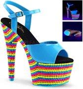 EU 38 = US 8 | ADORE-709RBS | *7 Heel, 2 3/4 PF Ankle Strap Sandal, Neon UV Reactive
