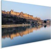 Zonsondergang boven het Fort Amber en het meer Plexiglas 90x60 cm - Foto print op Glas (Plexiglas wanddecoratie)