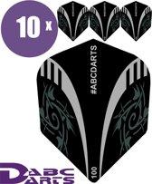ABC Darts Flights - Extra Stevig - Tribal Zwart - 10 sets (30 stuks Dart Flights)