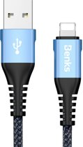 Benks 25 cm 5V 3A Nylon gevlochten kabel USB A naar 8-pins Data Sync Charge-kabel, voor iPhone XR / iPhone XS MAX / iPhone X & XS / iPhone 8 & 8 Plus / iPhone 7 & 7 Plus / iPhone 6 & 6s & 6 Plus & 6s Plus / iPad (blauw)