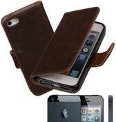 MiniPrijzen - Mocca vintage lederlook bookcase voor de iPhone 5 wallet hoesje flip cover iPhone 5 telefoonhoesje - smartphone hoesje - beschermhoes