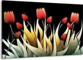 Canvas schilderij Tulp | Rood, Zwart, Wit | 140x90cm 1Luik