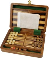 Backgammon spel | reiseditie | koffer | hout | set |
