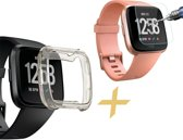 FitBit Versa Hoesje Transparant Zwart TPU Siliconen Soft Gel Case + Tempered Glass Screenprotector - van iCall