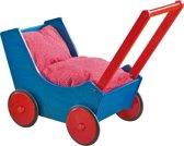 Haba Poppenwagen Hout - Blauw/Rood