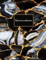 Reservations: Black Faux Gold and White Stone Marble Print Softcover Reservation Book for Restaurant - 6 Months Guest Booking Diary
