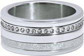 Quiges Dames Stapelring Set RVS Zirkonia Zilverkleurig - Maat 18.5 - Hoogte 10mm - SRS012S18.5