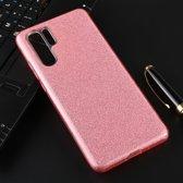 Let op type!! Voor Huawei P30 Pro volledige dekking TPU + PC glittery poeder beschermende Back Cover (roze)