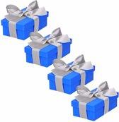 4 x Blauw cadeaudoosje 10 cm met zilveren strik
