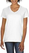 Basic V-hals t-shirt wit voor dames - Casual shirts - Dameskleding t-shirt wit XL (42/54)