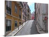 Smal steegje in het historische centrum van het Portugese Lissabon Aluminium 40x30 cm - klein - Foto print op Aluminium (metaal wanddecoratie)