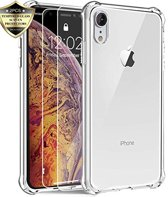 iPhone Xr Hoesje - Anti Shock Hybrid Case & 2X Tempered Glas Combi - Transparant