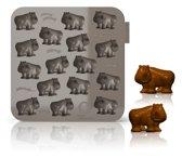 Silicone Zone My Animals IJsblokjes of chocoladevorm - Neushoorn - Grijs