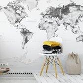 Fotobehang Wereldkaart Zwart Wit 384x260 cm - topkwaliteit vliesbehang - Wereldkaart Behang