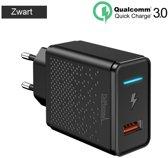DrPhone HALO - 18W Qualcom 3.0 Quick Charge Thuislader - Adapter - Snel Lader met Intelligente LED indicator – Zwart