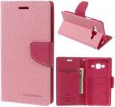 Samsung Galaxy J3 / J3 2016 Mercury Bookcase Hoesje - Portemonnee Hoesje - Telefoonhoesje - Bookstyle Hoesje - Booktype Hoesje - Klap Hoesje - Flip Cover - Smartphonehoesje - Wallet Hoesje - Boek Hoesje - Book Case - Portefeuille Hoesje - Case - Bookstyle Case - Hoes - Beschermhoesje - Wallet Case - Goospery - Roze
