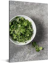 Een kom tuinkers tegen een grijze achtergrond Aluminium 120x180 cm - Foto print op Aluminium (metaal wanddecoratie) XXL / Groot formaat!
