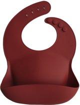 Mushie Siliconen Baby Slabbetje met Opvangbakje | Raw Sienna | BPA ftalaatvrij| afwasbaar