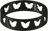 Quiges Stapelring Ring - Vulring Vlinders - Dames - RVS zwart - Maat 19 - Hoogte 6 mm