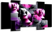 Canvas schilderij Art   Grijs, Roze, Paars   120x65 5Luik