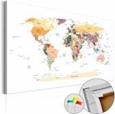 Afbeelding op kurk - Wereldkaart ,wit multi kleur , 1 luik , 3 maten