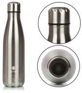 RVS Drinkfles - Roestvrij Staal RVS waterfles - Zilver – 500 ML - Sport Thermosfles - INCLUSIEF BONUS Schoonmaakborstel! Houdt tot 12 uur uw koffie warm en tot 24 uur drankjes koel! Isoleerfles - Thermosbeker - Geïsoleerde Bidon - BPA VRIJ